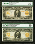 Large Size:Gold Certificates, $20 1906 Gold Certificate Duo.. ... (Total: 2 notes)