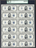 Small Size:Silver Certificates, Fr. 1652 $5 1934B Silver Certificates. Uncut Sheet of Twelve. PCGS Choice About New 58PPQ.. ...