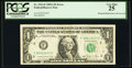Error Notes:Obstruction Errors, Fr. 1912-F $1 1981A Federal Reserve Note. PCGS Very Fine 25.. ...