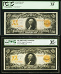 Large Size:Gold Certificates, Fr. 1183 $20 1906 Gold Certificate PCGS Very Fine 35;. Fr. 1184 $201906 Gold Certificate PMG Choice Very Fine 35 EPQ.. ... (Total: 2notes)