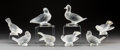 Art Glass:Lalique, Group of Eight Lalique Clear and Frosted Glass Birds. Post-1945.Engraved Lalique, France some with original labels ...(Total: 8 Items)