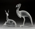 Art Glass:Lalique, A Lalique Glass Crane and Antelope . Post-1945. EngravedLalique, France. Ht. 19-3/4 x 10 x 3-1/2 in. (largest,crane). ... (Total: 2 Items)