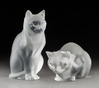 Lalique Frosted Glass Chat Assis and Chat Couche Post-1945. Engraved Lalique, France, with original... (Total: 2 Items)
