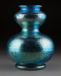 Art Glass:Other , Loetz Blue Iridescent Glass Double-Gourd Vase. Circa 1910. Ht. 8in.. ...
