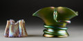 Art Glass:Other , Two Loetz-Style Iridescent Glass Vases. Circa 1910. Ht. 6 in.(taller). ... (Total: 2 Items)