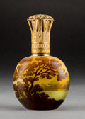 Art Glass:Galle, Galle Overlay Glass and Gilt Metal Landscape Perfume Burner. Circa1910. Cameo Galle; Stamped MADE IN FRANCE . Ht. 7...