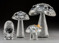 Art Glass:Steuben, Steuben Glass and 18K Gold Mushrooms and Egg Group. Late 20thcentury. Engraved Steuben; Stamped 18K, STEUBEN. Ht.8... (Total: 4 Items)