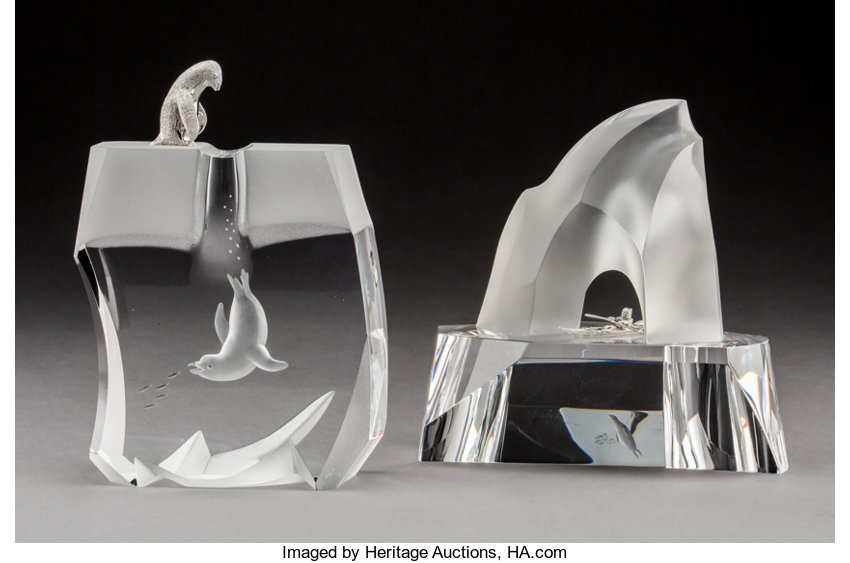 2327efe59cf2 Steuben Glass and Silver Ice Penguin and Ice Hunter Desk Ornaments ...