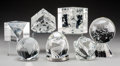 Art Glass:Steuben, Seven Various Steuben Clear Glass Paperweights . 20th century.Engraved Steuben. Ht. 5-1/2 in. (largest, orb on base). ...(Total: 7 Items)