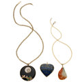 Estate Jewelry:Pendants and Lockets, Multi-Stone, Gold Pendant-Necklaces. ... (Total: 3 Items)
