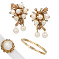 Estate Jewelry:Lots, Diamond, Cultured Pearl, Mabe Pearl, Gold Jewelry. ... (Total: 3 Items)