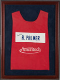 Golf Collectibles:Miscellaneous, 1980's Arnold Palmer Signed Worn Caddy Vest Display. . ...