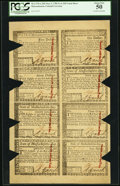 Colonial Notes:Massachusetts, Massachusetts May 5, 1780 $1-$2-$3-$4-$5-$7-$8-$20 Uncut Sheet PCGS About New 50, COC.. ...