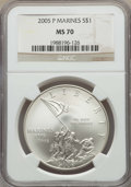 Modern Issues, 2005-P $1 Marine Corps MS70 NGC. NGC Census: (7118). PCGS Population: (1290). ...