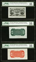 Fractional Currency:Third Issue, Fr. 1275SP; 1273SP; 1272SP 15¢ Third Issue Wide Margin Set PMG Graded.. ... (Total: 3 notes)