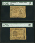 Colonial Notes:Continental Congress Issues, Continental Currency 1775.. ... (Total: 2 notes)