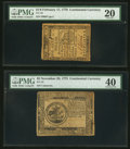 Colonial Notes:Continental Congress Issues, Continental Currency 1775-76.. ... (Total: 2 notes)