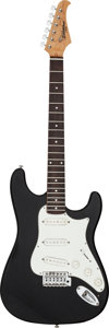Musical Instruments:Electric Guitars, 2010 Silvertone Stratocaster-Style Black Solid Body ElectricGuitar, Serial # N/A....