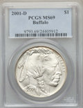 Modern Issues, 2001-D $1 Buffalo Silver Dollar MS69 PCGS. PCGS Population: (15202/1647). NGC Census: (13013/2017)....