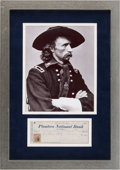 Miscellaneous Collectibles:General, 1874 General George Armstrong Custer Signed Check Display....