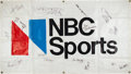Autographs:Others, 1975-76 Indiana Hoosiers Team Signed NBC Sports Banner From The NCAA Championship Game. ...