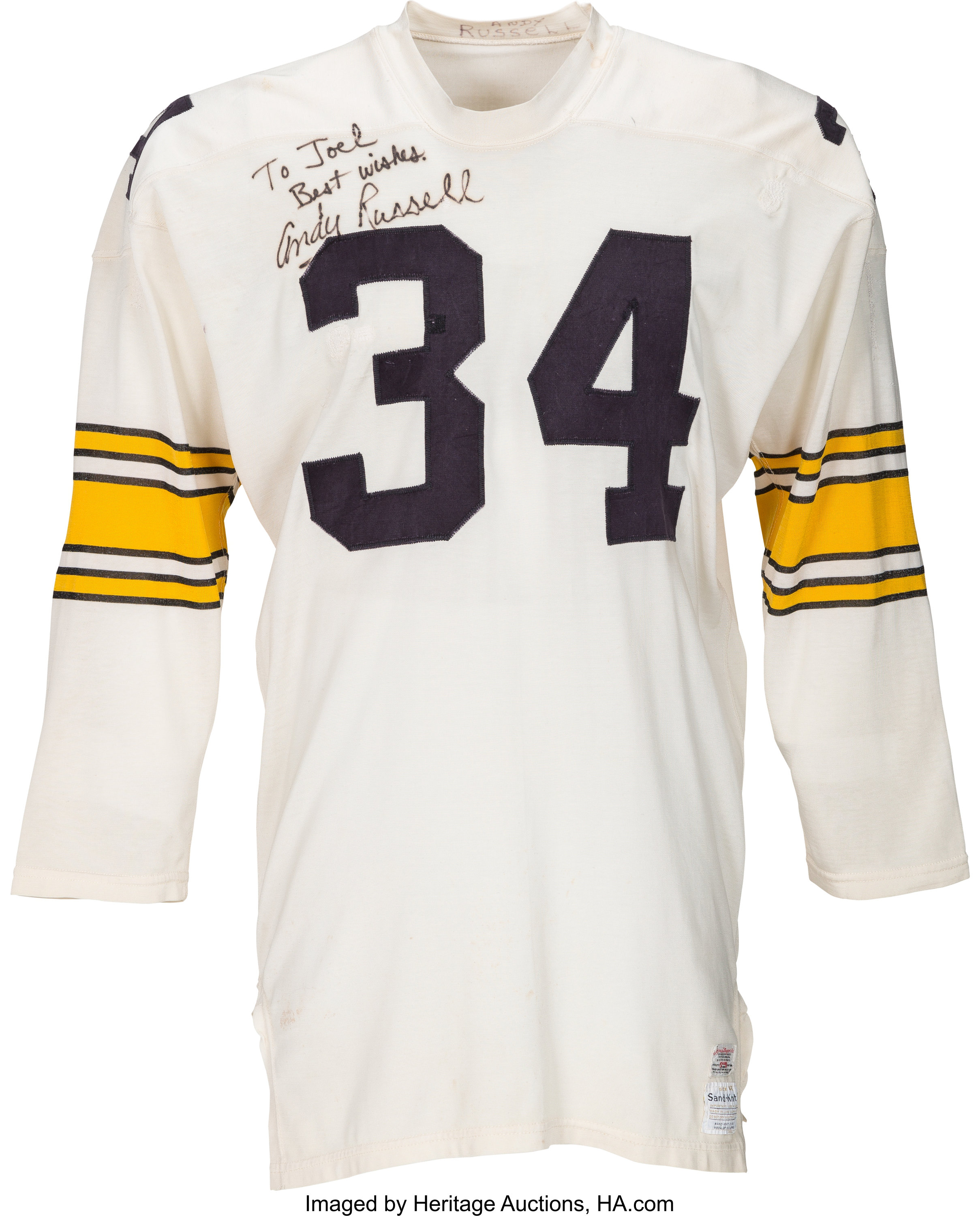f090db602 1969 Andy Russell Game Worn Pittsburgh Steelers Jersey (NFL's 50th | Lot  #50580 | Heritage Auctions