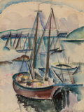 Fine Art - Painting, American, William Zorach (American, 1887-1966). Sailboats,Provincetown, 1919. Watercolor and pencil on paper. 13-1/2 x10-1/4 inc...