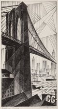 Prints & Multiples, Arnold Ronnebeck (American, 1885-1947). Brooklyn Bridge, 1925. Lithograph on laid paper. 12-5/8 x 6-5/8 inches (32.1 x 1...