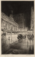 Prints & Multiples, Walter Tittle (American, 1883-1966). Grand Central, Night, circa 1930. Drypoint on Milbourn British Handmade paper. 12-7...