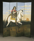 Decorative Arts, Continental:Other , A FOUR PANEL SCREEN. Continental, Early Nineteenth Century. A fourpanel hand painted wallpaper screen depicting Louis XIV o...