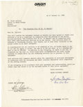 "Movie/TV Memorabilia:Autographs and Signed Items, Peter Sellers Signed ""Fu Manchu"" Agreement. A single-page documenton Orion Pictures letterhead dated January 24, 1980, in w..."
