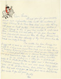 Movie/TV Memorabilia:Autographs and Signed Items, Moe Howard Handwritten Letter. An undated letter handwritten and signed in blue ink by head Stooge Moe Howard on personal st...