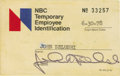 Movie/TV Memorabilia:Autographs and Signed Items, John Belushi Signed NBC Employee Card. A rare NBC TemporaryEmployee Identification card with a June 30, 1978, expiration da...