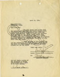 "Movie/TV Memorabilia:Autographs and Signed Items, Clara Bow and Sam Jaffe Signed ""It"" Contract. A single-pagecontract dated April 12, 1926, and signed in black by Famous-Pla..."