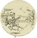 """Political:Pinback Buttons (1896-present), One of a Pair of Charming Large 1908 Bryan and Taft Cartoon Button Varieties. These 2 1/8"""" beauties depict a race between Br..."""