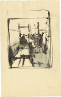 "Music Memorabilia:Original Art, Stuart Sutcliffe Ink Sketch. A small, 4.5"" x 7"" ink sketch of whatappears to an abstract take on a bar or restaurant scene...."