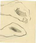 "Music Memorabilia:Original Art, Stuart Sutcliffe Small Pencil Sketch. This 3.5"" x 3"" pencil sketch of two figure studies of a hand was originally included i..."