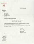 Basketball Collectibles:Others, 2000 Bobby Knight Signed Typed Letter. The offered typed letterappears of Indiana University letterhead and answers a requ...