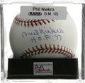 "Autographs:Baseballs, Phil Niekro ""H.O.F 97"" Single Signed Baseball, PSA Gem Mint 10. Themighty knuckleballer Phil Niekro makes reference to his..."