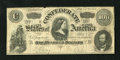 Confederate Notes:1864 Issues, T65 $100 1864. A Confederate Treasury stamp is found in the upper left corner, while a few small edge tears are noticed. F...