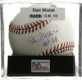 "Autographs:Baseballs, Stan Musial ""HOF 69"" single Signed Baseball PSA Gem Mint 10. Stanthe Man has left a perfect example of his signature on th..."