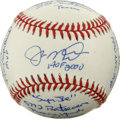 Autographs:Baseballs, Joe Montana Single Signed Stat Baseball. As far as signed baseballsgo, you'd be hard-pressed to find an orb more unique th...