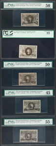Fractional Currency:Second Issue, Five Second Issue Fiber Paper Fractionals. . ... (Total: 5 notes)