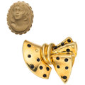 Estate Jewelry:Brooches - Pins, Lava Cameo, Enamel, Gold Brooches. ... (Total: 2 Items)
