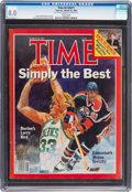 Basketball Collectibles:Publications, 1985 Larry Bird & Wayne Gretzky TIME Magazine, CGC 8.0 - None Higher. . ...