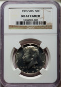 SMS Kennedy Half Dollars, 1965 50C SMS MS67 Cameo NGC. NGC Census: (525/44). PCGS Population:(191/7). ...
