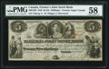 Canadian Currency, Canada Toronto, UC- Farmers' Joint Stock Bank $5=25 Shillings Feb.1, 1849 Ch. # 280-12-06.. ...