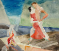 Fine Art - Work on Paper, Marguerite Thompson Zorach (American, 1887-1968). Dancers and Mother & Child (double-sided work). Watercolor and pen... (Total: 2 Items)