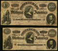 Confederate Notes, CT65/491 Counterfeit $100 1864;. T65 $100 1864 PF-1 Cr. 491.. ... (Total: 2 notes)