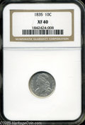 """Bust Dimes: , 1835 10C XF40 NGC. The current Coin Dealer Newsletter (Greysheet)wholesale """"bid"""" price is $200.00...."""